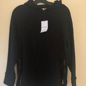 Black hoodie with zip up side detailing